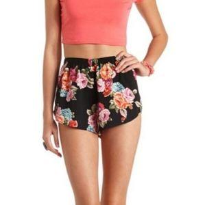 Ambiance Apparel | S Black floral high waist short